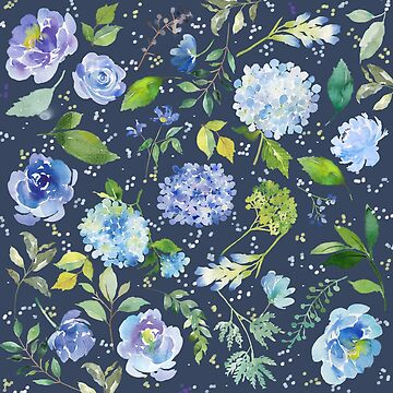 Floral Watercolor Blue Lilac Flower Pattern by junkydotcom