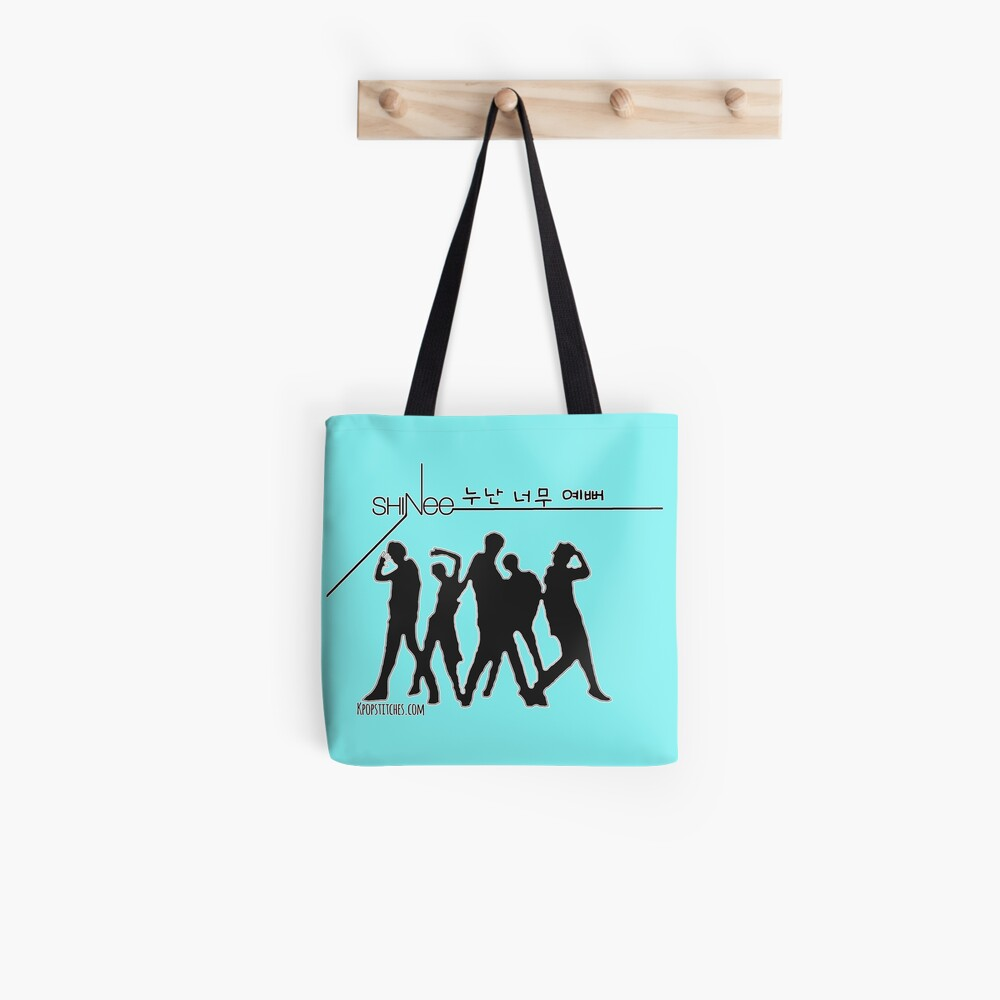 SHINee 누난너무예뻐Noona Neomu Yeppeo (Black Text) outline Tote Bag