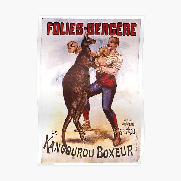 Vintage Kangaroo Boxing Poster Poster