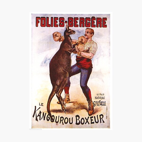 Vintage Kangaroo Boxing Poster Photographic Print