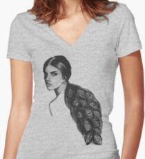 Feathers Women's Fitted V-Neck T-Shirt