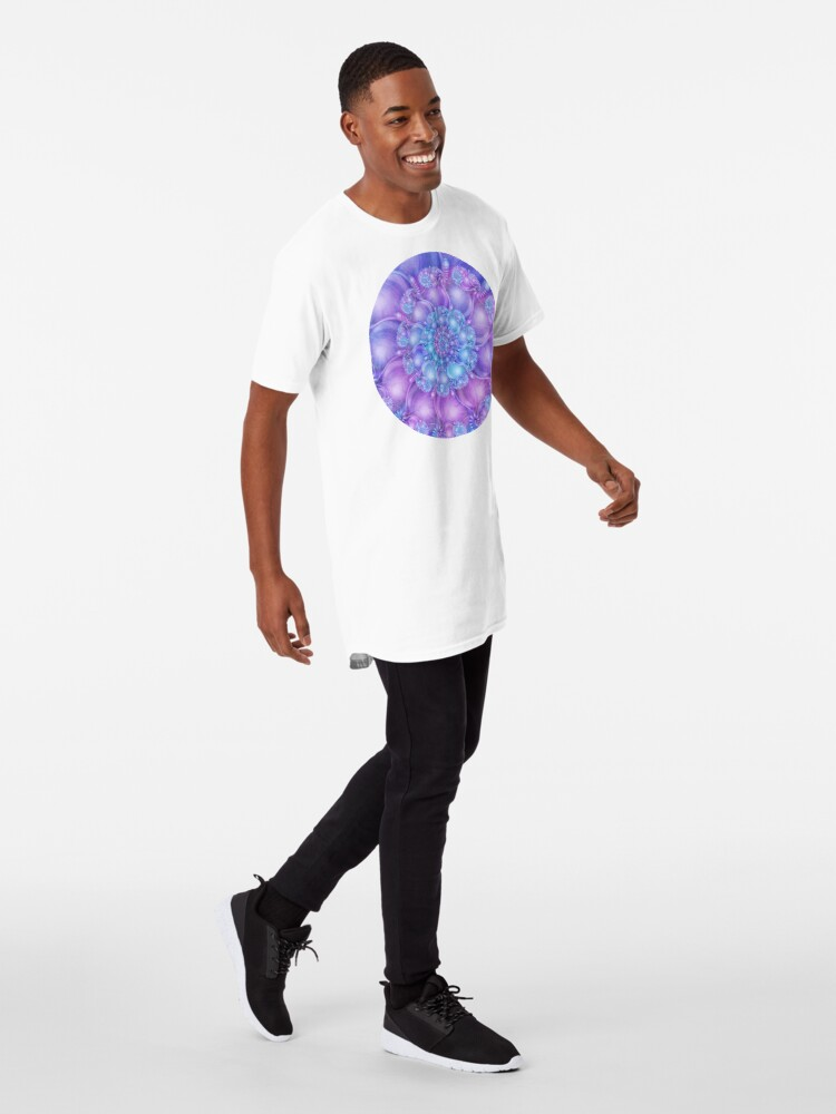 Alternate view of Cerulean Blue and Violet Purple Spiral Long T-Shirt