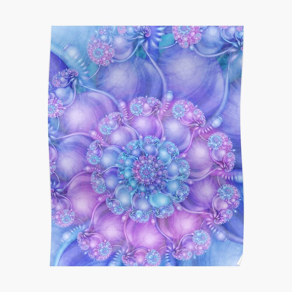Cerulean Blue and Violet Purple Spiral Poster