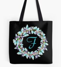 Letter F- butterfly, orchid, Alphabet, Monogram, Initial  Tote Bag