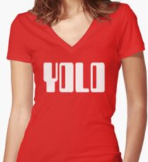 'YOLO' by Chillee Wilson Women's Fitted V-Neck T-Shirt