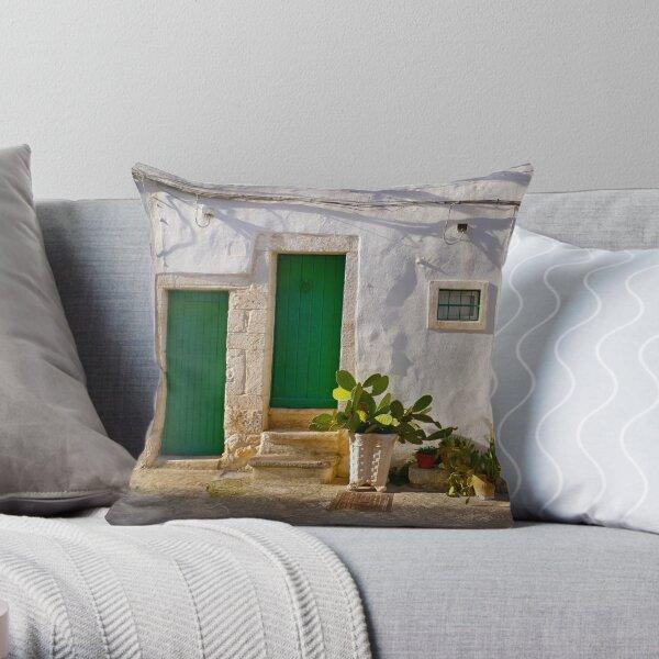 Green Doors and cactus, Ostuni, Italy Throw Pillow