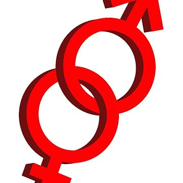 MALE & FEMALE GENDER SYMBOLS JOINED, on White by TOMSREDBUBBLE