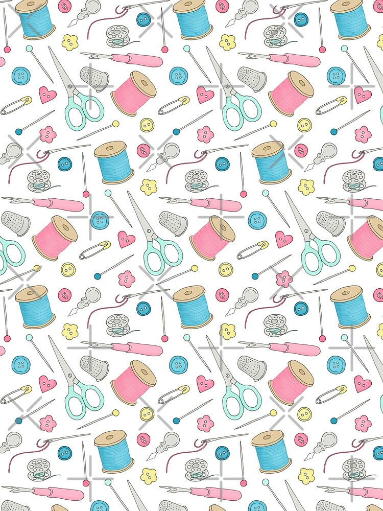 Sewing Notions pattern - cotton reels, scissors, buttons and pins by HazelFisher