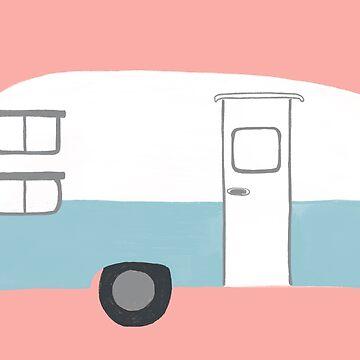 Sweet Vintage Camping Trailer - blue & pink by shoshannahscrib