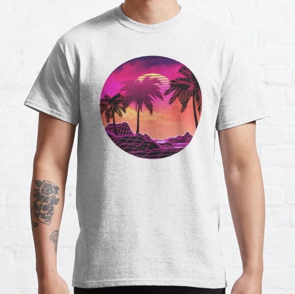 Pink vaporwave landscape with rocks and palms Classic T-Shirt