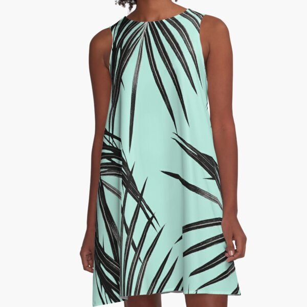 Black Palm Leaves Dream #2 #tropical #decor #art  A-Line Dress