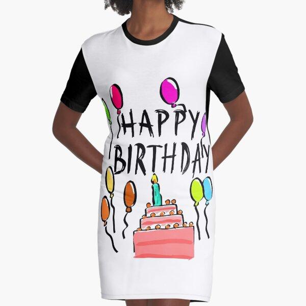 Happy Birthday! Graphic T-Shirt Dress
