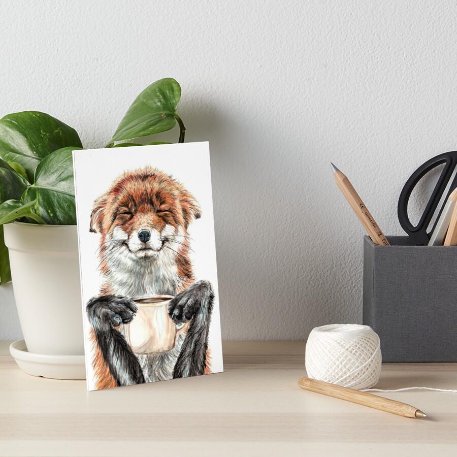 Morning Fox - cute coffee animal Art Board Print