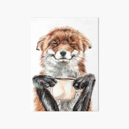 Morning Fox - cute coffee animal Art Board Print
