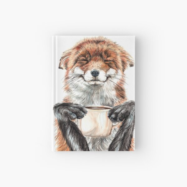 Morning Fox - cute coffee animal Hardcover Journal