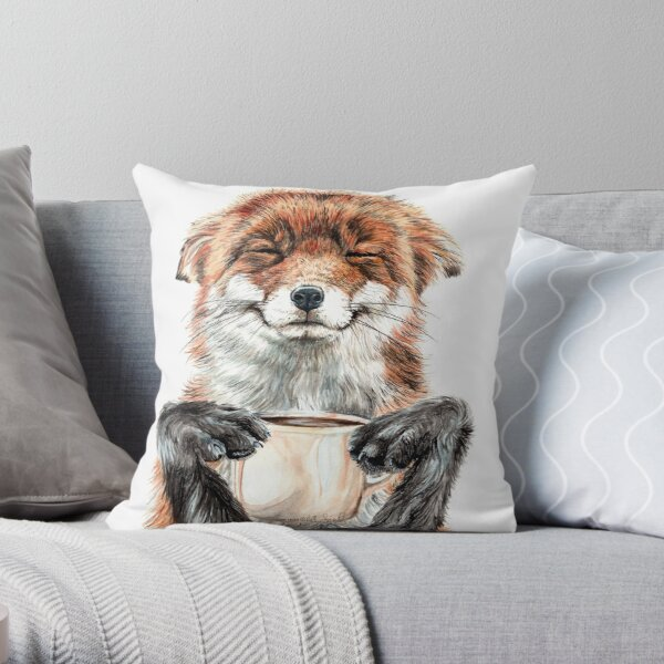Morning Fox - cute coffee animal Throw Pillow