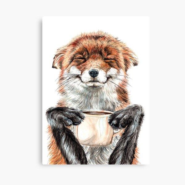 Morning Fox - cute coffee animal Canvas Print