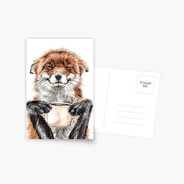 Morning Fox - cute coffee animal Postcard