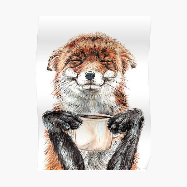 Morning Fox - cute coffee animal Poster