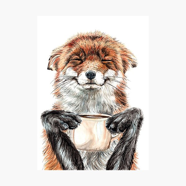 Morning Fox - cute coffee animal Photographic Print