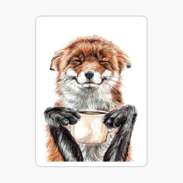 Morning Fox - cute coffee animal Sticker