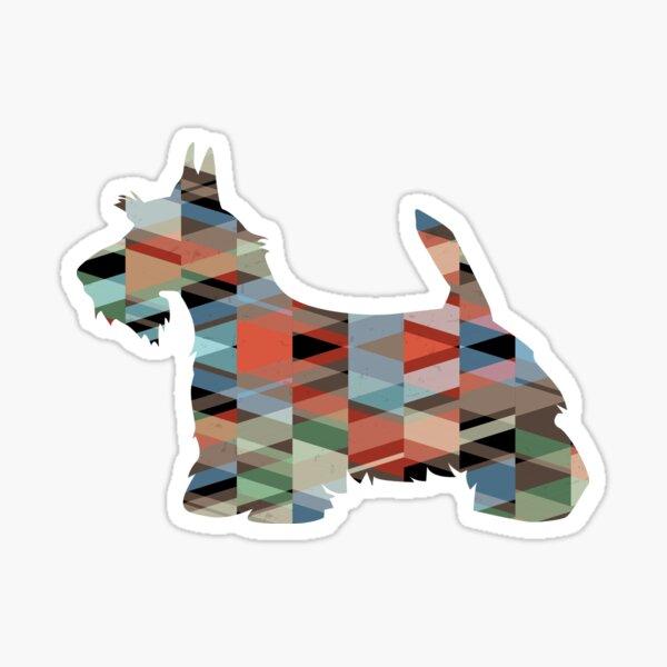 Scottie Terrier Geometric Pattern Silhouette Plaid Sticker