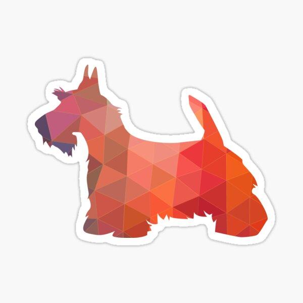 Scottie Terrier Geometric Pattern Silhouette Orange Sticker