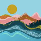 Abstract landscape in coral, gold, blue and caramel by walstraasart
