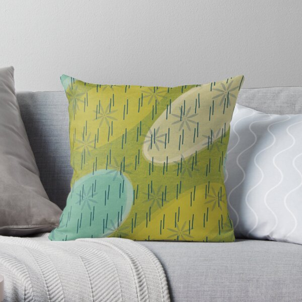 Modern circles with flowers and rain Throw Pillow