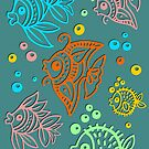 Fishes Batik Style Art Seamless Pattern by BluedarkArt