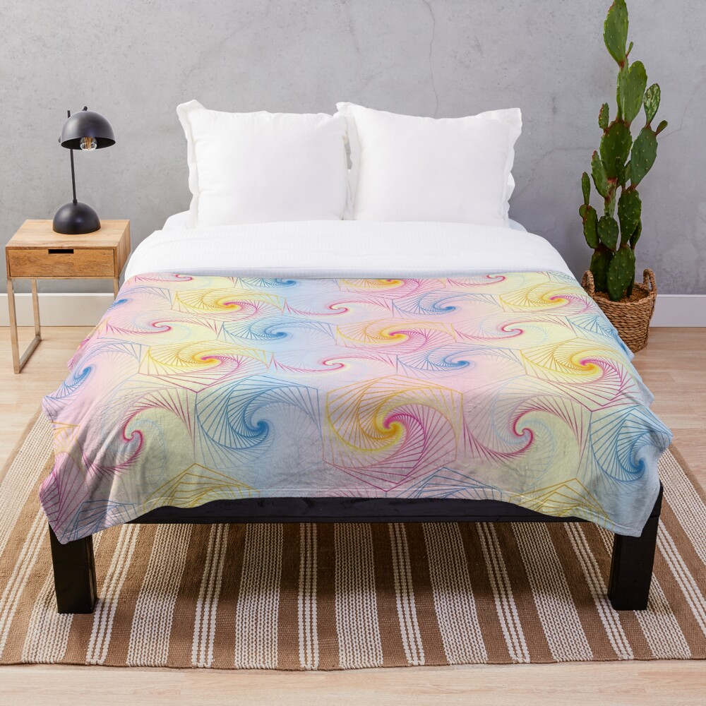Futuristic hexagons in pastel Throw Blanket