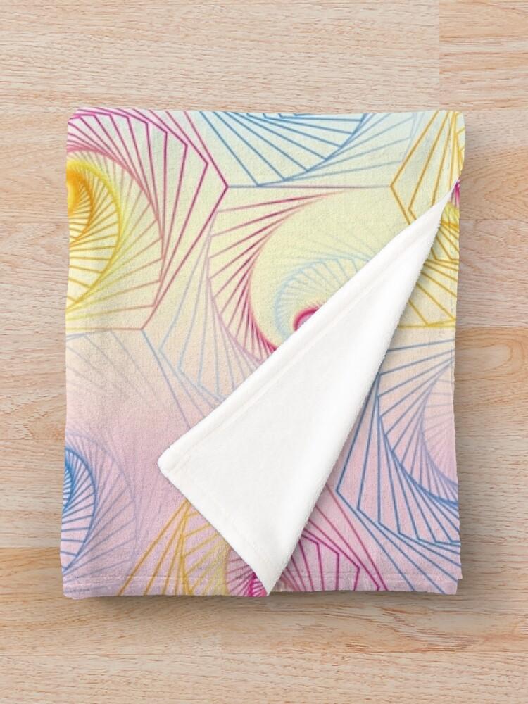 Alternate view of Futuristic hexagons in pastel Throw Blanket