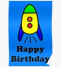 Cartoon Rocket Ship Happy Birthday Greeting Card by Chillee Wilson Poster