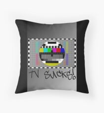TV Sucks! by Chillee Wilson Throw Pillow