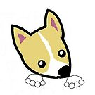 rat terrier white and apricot peeking cartoon by marasdaughter