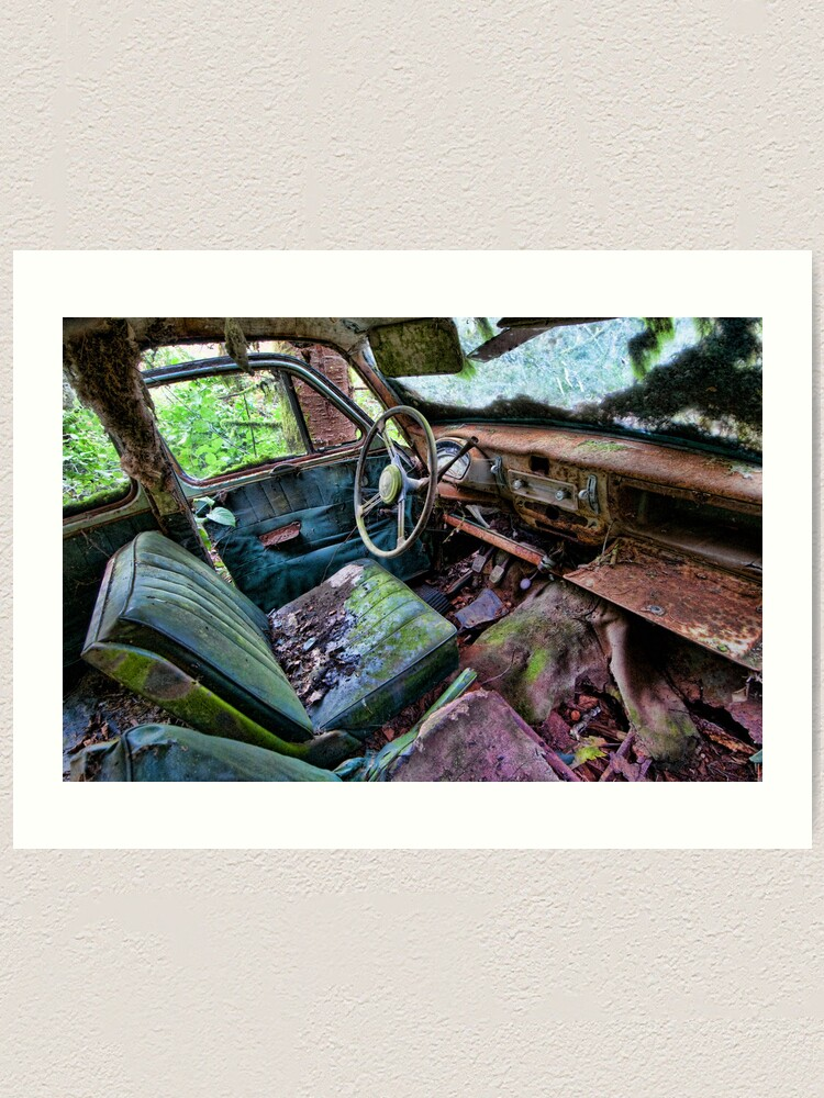 Alternate view of Car in the woods, Front Seat Art Print