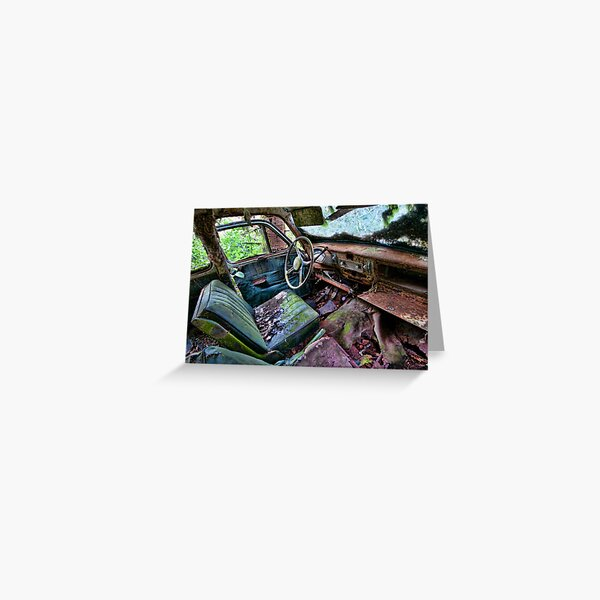 Car in the woods, Front Seat Greeting Card