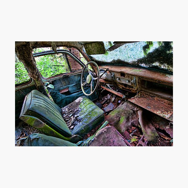 Car in the woods, Front Seat Photographic Print