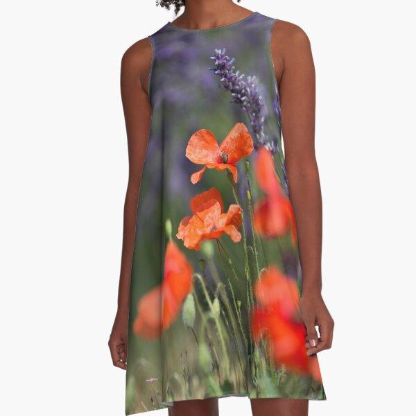 Mohnblumen und Lavendel A-Linien Kleid
