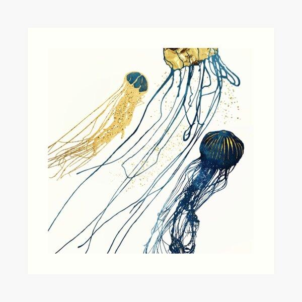 Metallic Jellyfish II Art Print