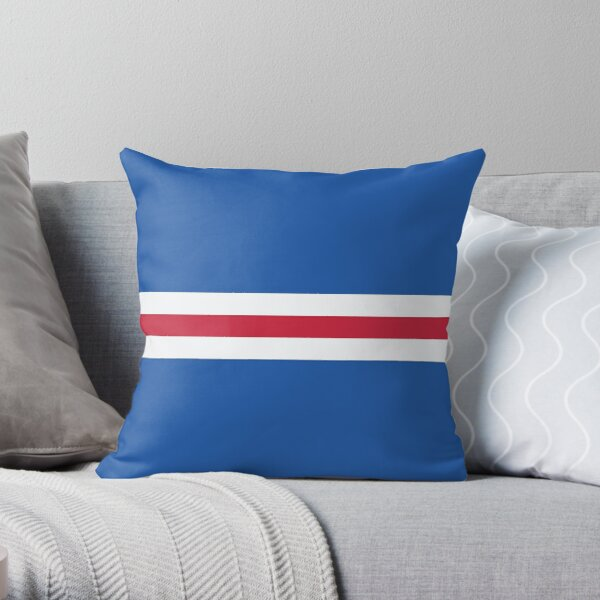 Glasgow Rangers Colours Bar Design Throw Pillow
