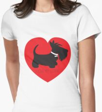I Love My Scottie_Copyright © BonniePortraits on Redbubble.com Women's Fitted T-Shirt