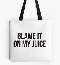 Schuld an meinem Saft - schwarzer Blocktyp Tote Bag