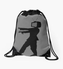 Zombie TV Guy by Chillee Wilson Drawstring Bag
