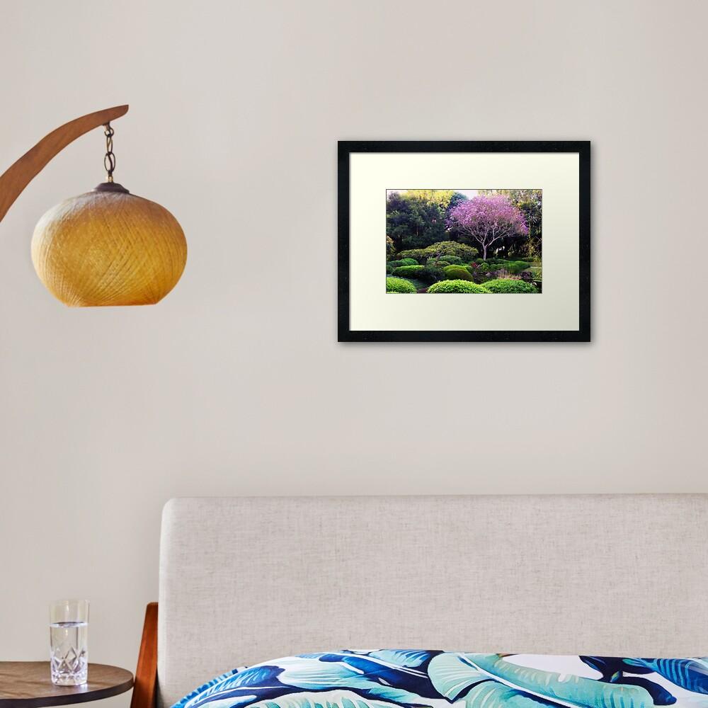 Japanese garden, at Botanical garden Bribane Framed Art Print