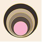 Tan and pink retro circles by Cynthia Haller