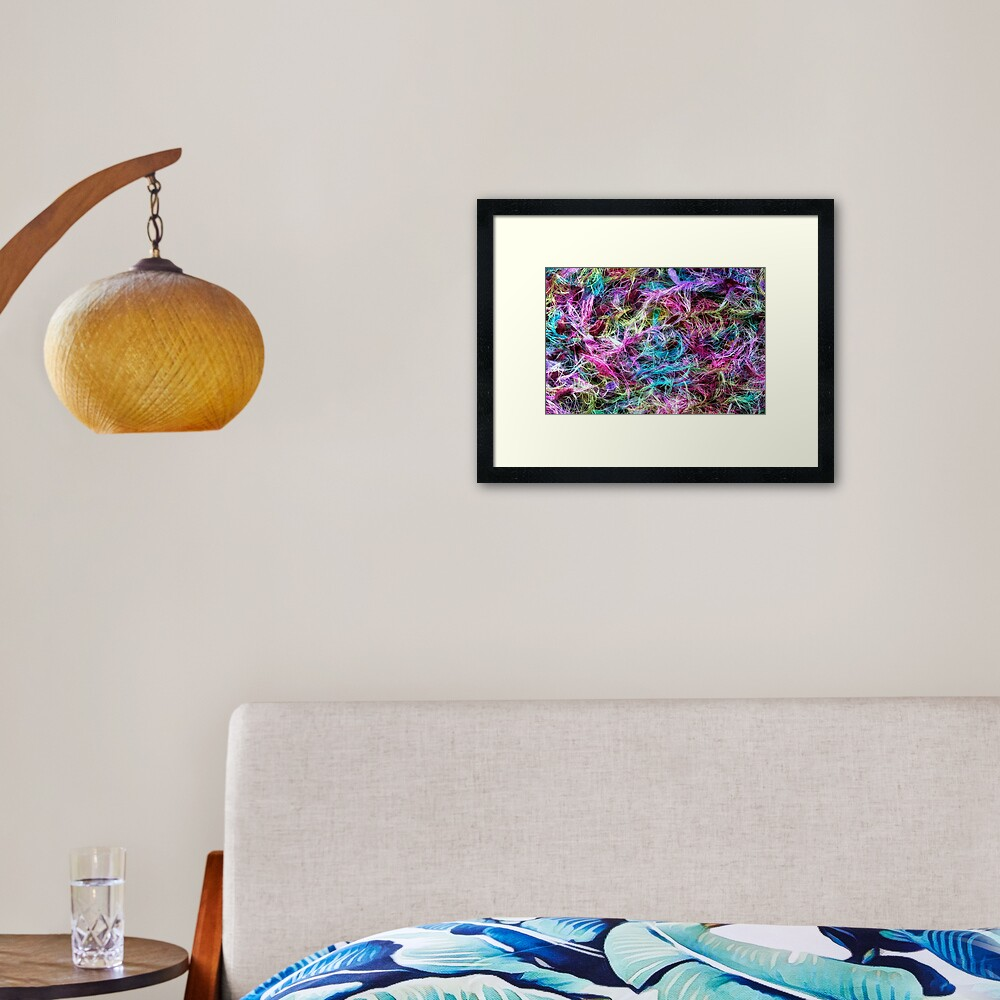 A macro photo of some fine cotton treads Framed Art Print