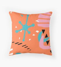 80s Retro Inspired Pantone Coral Mid Mod Abstract Throw Pillow