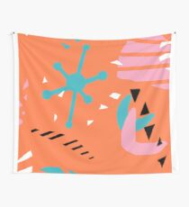 80s Retro Inspired Pantone Coral Mid Mod Abstract Wall Tapestry