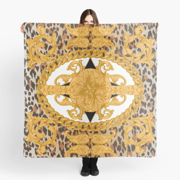 leopard skin and golden baroque elements. Fashion seamless pattern Scarf